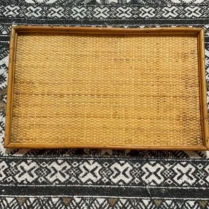 Vintage wicker rattan bamboo serving tray